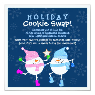 Holiday Cookie Swap Happy Snowmen Invitation
