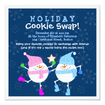 Holiday Cookie Swap Happy Snowmen Invitation