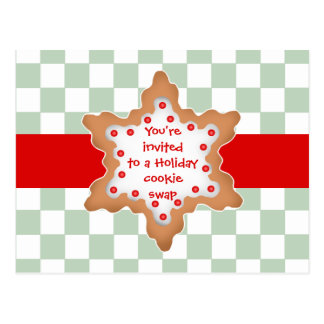 Holiday cookie swap postcard