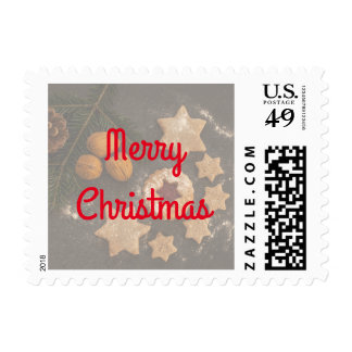 Holiday Cookies Brown and Red Merry Christmas Postage