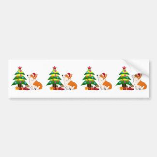 Holiday Corgi Cartoon with Tree Bumper Sticker