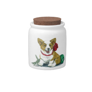 Holiday Corgi Jar... Candy or Dog Treats Candy Jar
