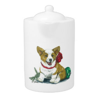 Holiday Corgi Tea/Coffee Pot