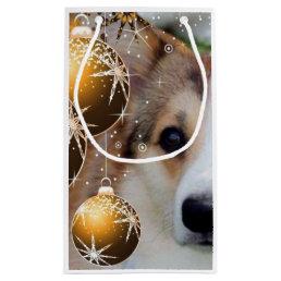 Holiday Corgi with Bulbs Small Gift Bag