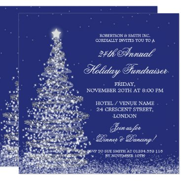 Professional Business Holiday Corporate Fundraiser Gala Silver Navy Blue Card