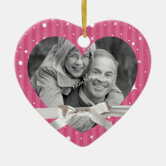 Holiday Couple Photo in Heart with Ribbon Double-Sided Heart Ceramic Christmas Ornament