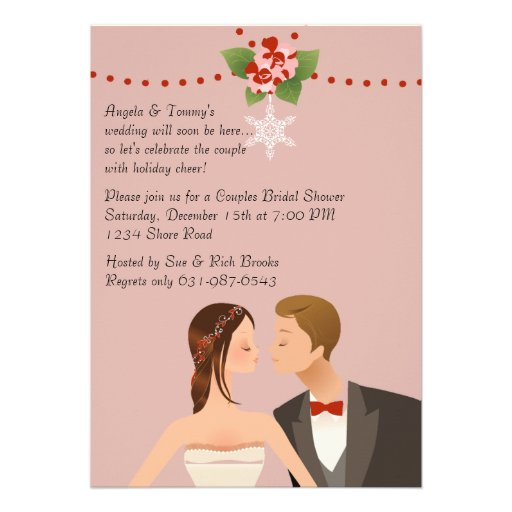 Holiday couples bridal shower invitation 5 x 7 for Wedding couples shower invitations