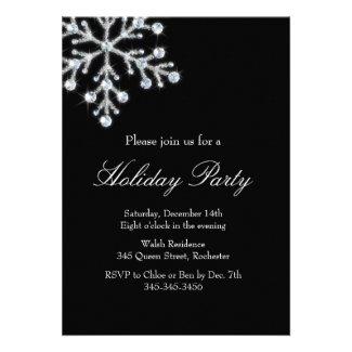Holiday Crystal Snowflake (black) Custom Invites