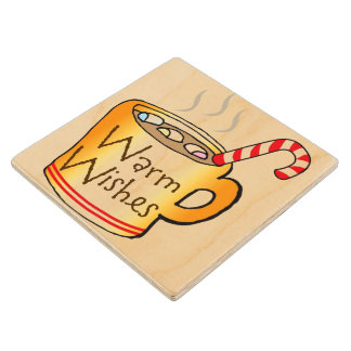 Holiday Cup of Cheer Wooden Coaster