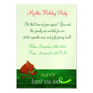 Holiday Cupcake Whimsey PERSONALIZED CUPCAKE PARTY Magnetic Card