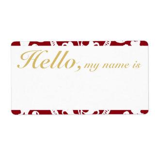 Holiday Custom Flourish Border Name Tag Label
