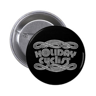 HOLIDAY CYCLIST PINBACK BUTTON