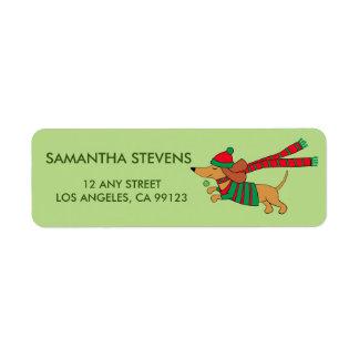 Holiday Dachshund Return Address Labels