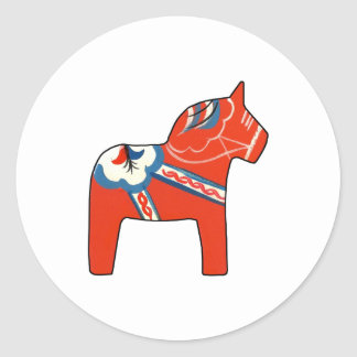 Holiday Dala Horse Classic Round Sticker