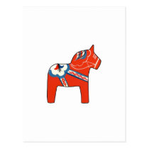 Holiday Dala Horse Postcard