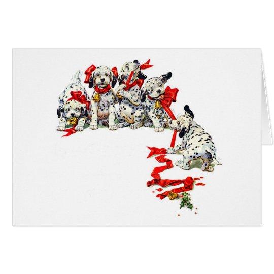 Holiday Dalmatian Pups Card