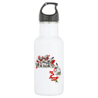 Holiday Dalmatin Pups with Red Ribbon Water Bottle