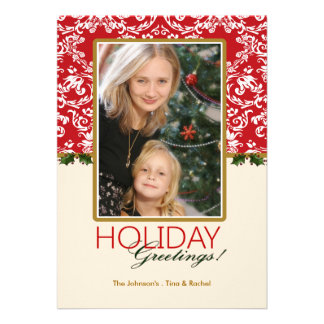 Holiday Damask and Holly Photo Card Custom Announcement