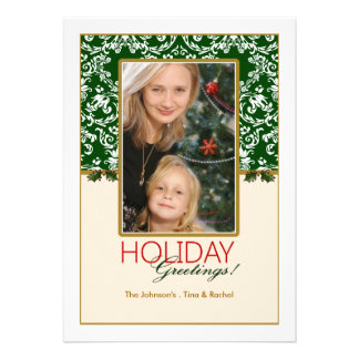 Holiday Damask and Holly Photo Card Invitations
