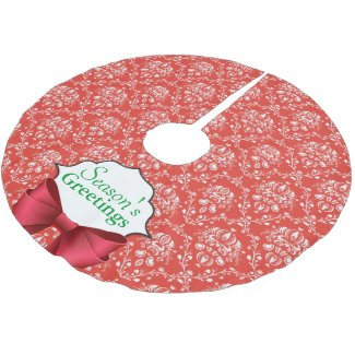 Holiday Damask Brushed Polyester Tree Skirt