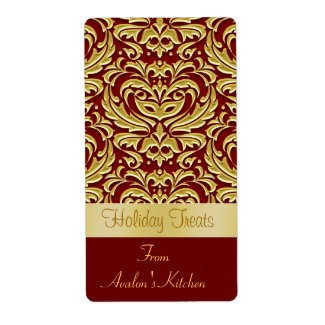 Holiday Damask Kitchen Treat Baking Label
