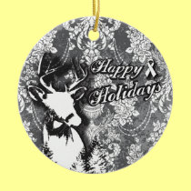 Holiday Damask Lung Cancer Awareness Products Ceramic Ornament