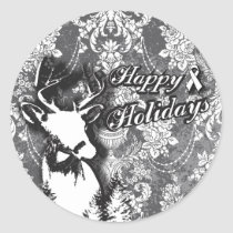 Holiday Damask Lung Cancer Awareness Products Classic Round Sticker