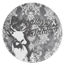 Holiday Damask Lung Cancer Awareness Products Dinner Plate