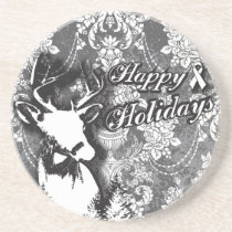 Holiday Damask Lung Cancer Awareness Products Drink Coaster
