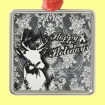 Holiday Damask Lung Cancer Awareness Products Metal Ornament
