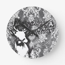 Holiday Damask Lung Cancer Awareness Products Round Clock
