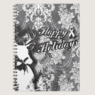 Holiday Damask Lung Cancer Awareness Products Spiral Notebook