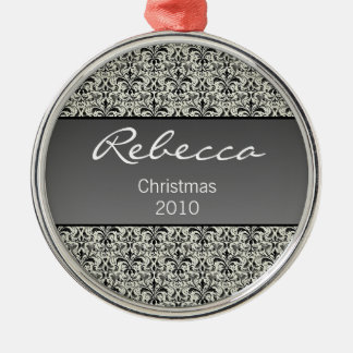 Holiday Damask Premium Round Ornament, Gray