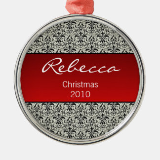 Holiday Damask Premium Round Ornament, Red Metal Ornament