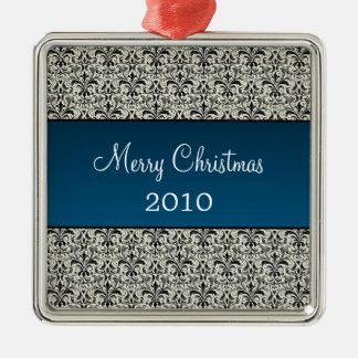 Holiday Damask Premium Square Ornament, Blue