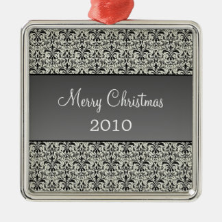 Holiday Damask Premium Square Ornament, Gray Metal Ornament