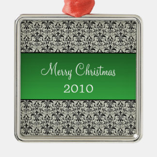 Holiday Damask Premium Square Ornament, Green