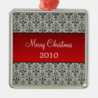 Holiday Damask Premium Square Ornament, Red Metal Ornament
