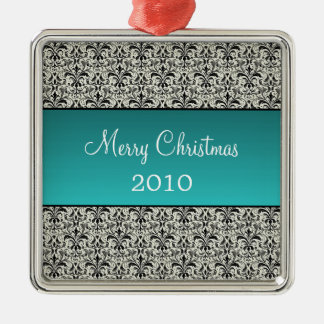 Holiday Damask Premium Square Ornament, Turquoise