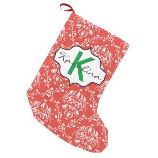 Holiday Damask Small Christmas Stocking