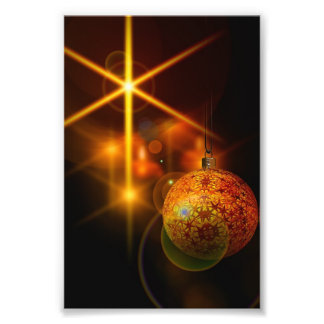 Holiday Decoration Gold Christmas Bauble Light Photograph