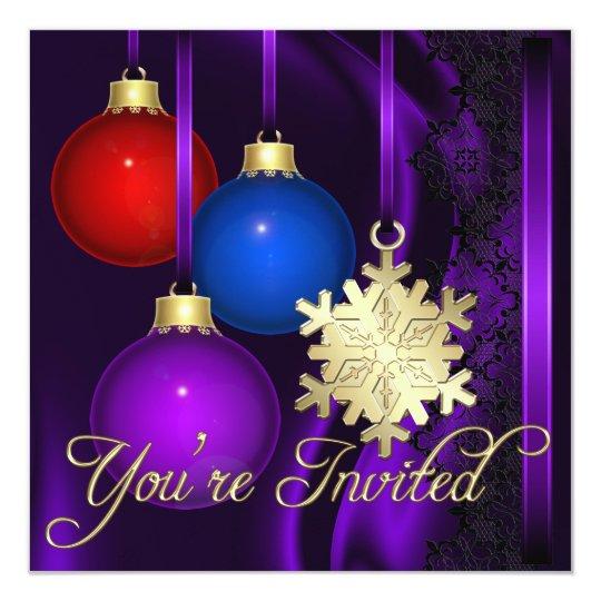 Holiday Decorations Purple Silk Elegant Invitation