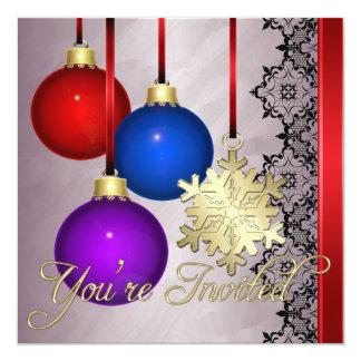 Holiday Decorations Red Foil Elegant Invitation
