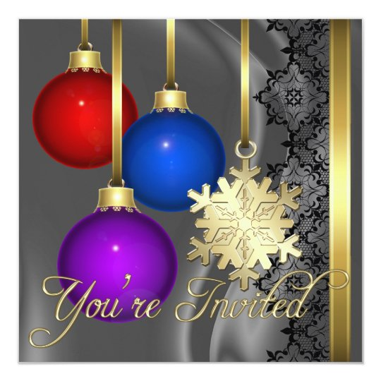 Holiday Decorations Silver Silk Elegant Invitation
