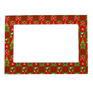 Holiday Decorative Squares Magnetic Photo Frame