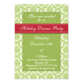 Holiday Dinner Party Classy Damask Design Invites