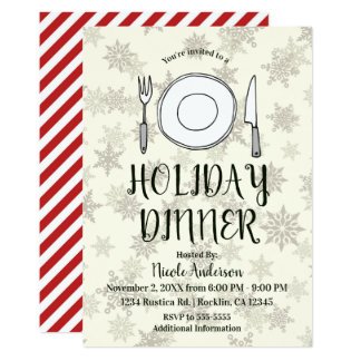 Holiday Dinner Party Cream Ivory Christmas Stripes Card