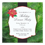 Holiday Dinner Party with poinsettia and garland 5.25x5.25 Square Paper Invitation Card