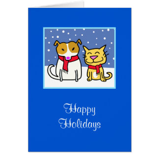 Holiday Dog & Cat in the Snow Greeting Card