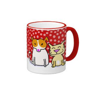 Holiday Dog & Cat in the Snow Ringer Mug